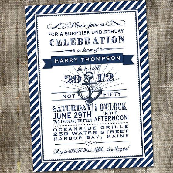 Navy and White Nautical 50th Surprise Birthday Printable