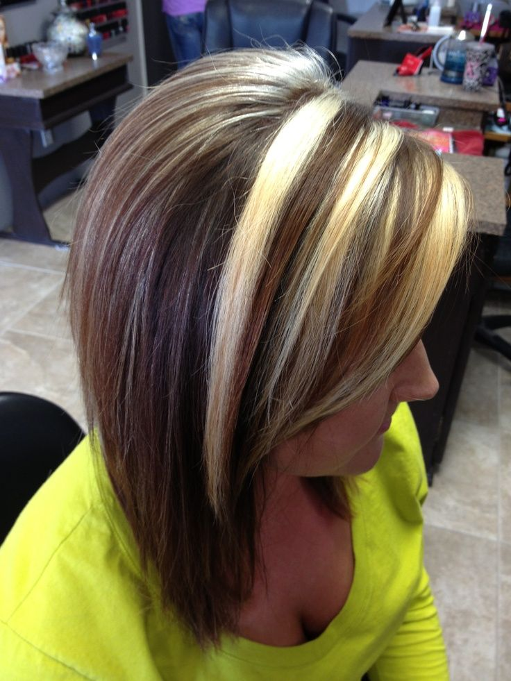 Dark Brown Hair With Chunky Blonde Highlights Chunky