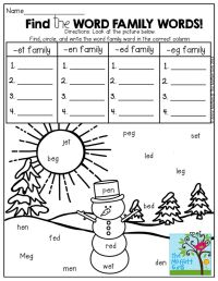 Word Family Worksheets For Second Grade - free word family ...