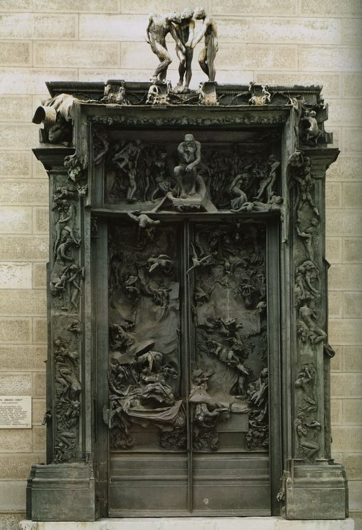 """The Gates of Hell (French: La Porte de l'Enfer) by French artist Auguste Rodin that depicts a scene from """"The Inferno"""", the first"""