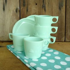 Kitchen Dish Sets Drain Pipe Repair Vintage Green Melmac Dishes Set Cups Mugs Saucers Mint ...