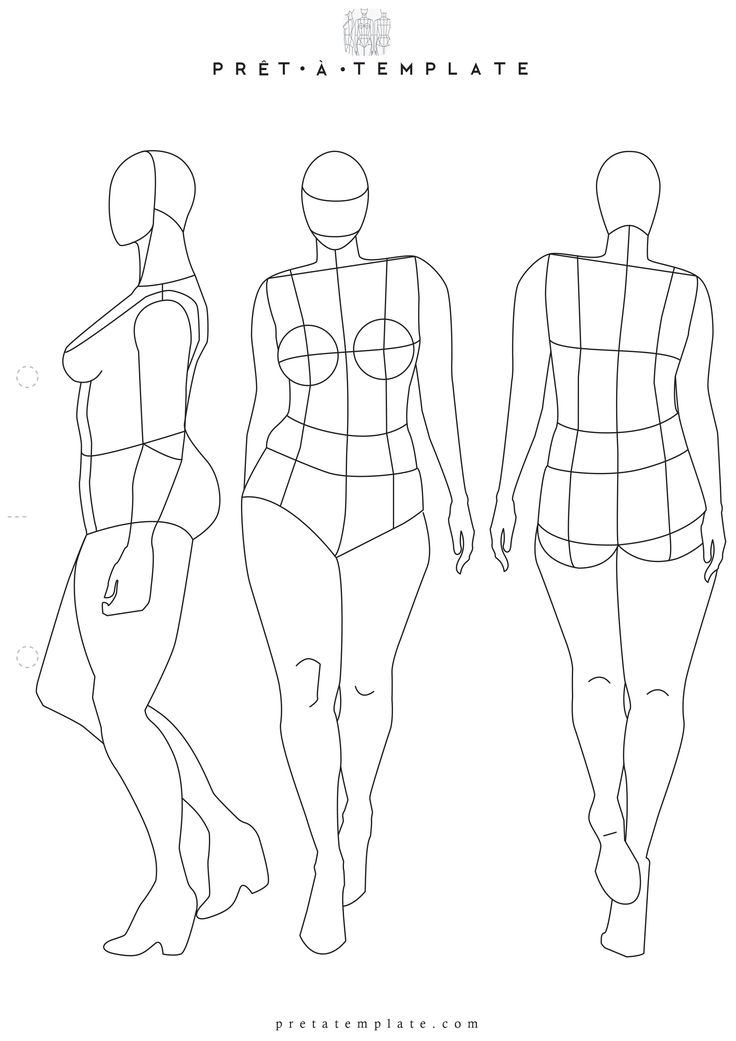 Plus Size Woman body figure fashion template (D-I-Y your