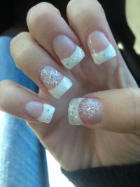 Cute acrylic Sparkle French tips with snowflake winter ...
