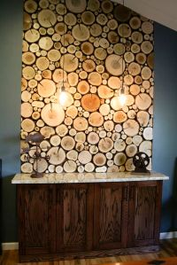 Create a similar wall panel of logs using log tiles from ...