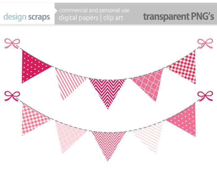Pink Bunting Banner Clip Art Graphics Flag Banner By