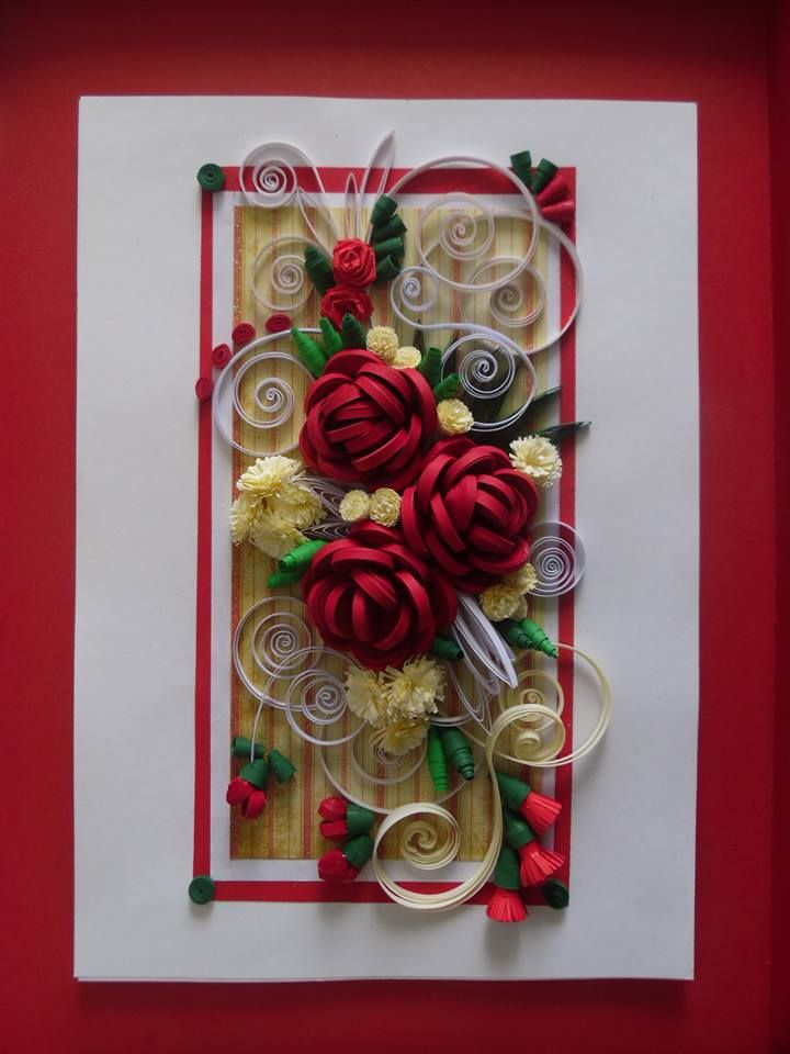 3d Roses And Quilled Buds Quilling Pinterest