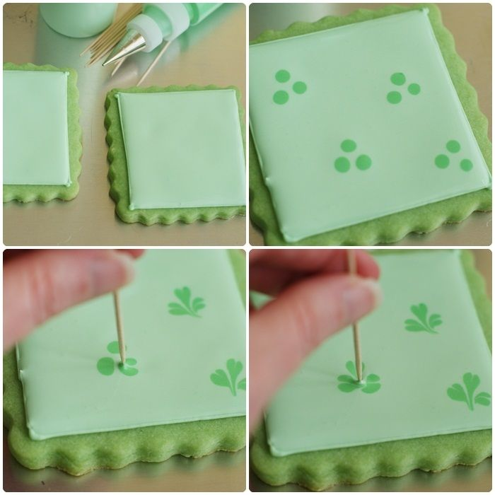 """For the other cookies, I had this """"great"""" idea to make shamrocks from dots. In reality, they look more like flat leaf parsley or"""