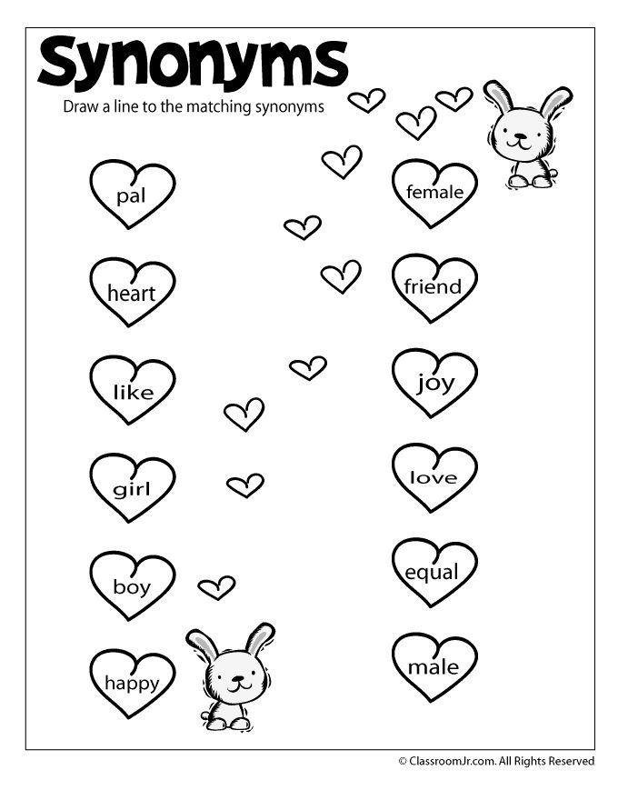 Reading Worksheets: Antonyms and Synonyms synonym