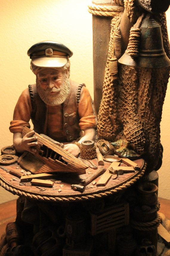 Vintage Collectible Fisherman table lamp by Apsit by
