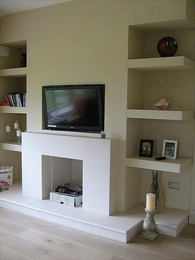 Alcove Floating Shelves   LIVING ROOM  TWO  Pinterest  Fireplaces Alcove and Love the