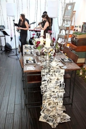 Photo Table Runner – Great idea for an anniversary party or milestone birthday.