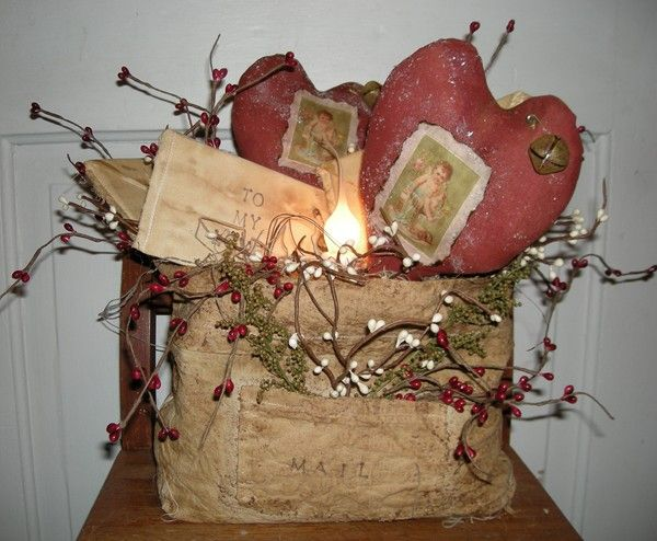 Primitive Valentine Hearts And Letters Mail Bag Lamp