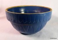 Antique Blue Art Deco Pottery Yellowware Mixing Bowl 9 ...