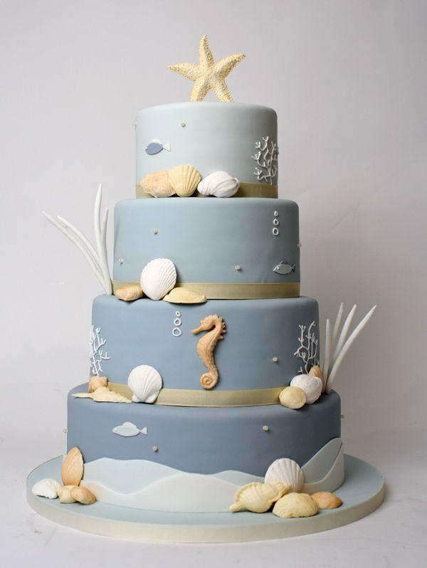 Underwater Wedding Cake by Charm City Cakes  Beautiful underwater ocean cake in blue tones with