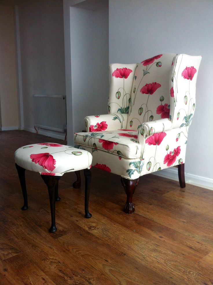 Wing chair and kidney shaped footstool reupholstered