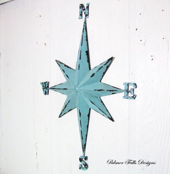 Nautical Rose Compass Star Metal Wall by