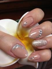 beige gel rhinestone nails
