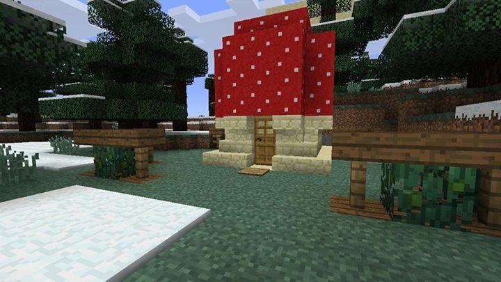 Minecraft Building Design : Cute Mushroom House