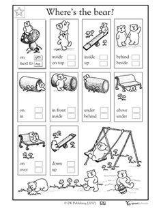 1st grade, Kindergarten Math, Reading Worksheets: Where's