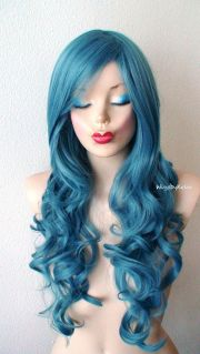 teal blue wig. lace front