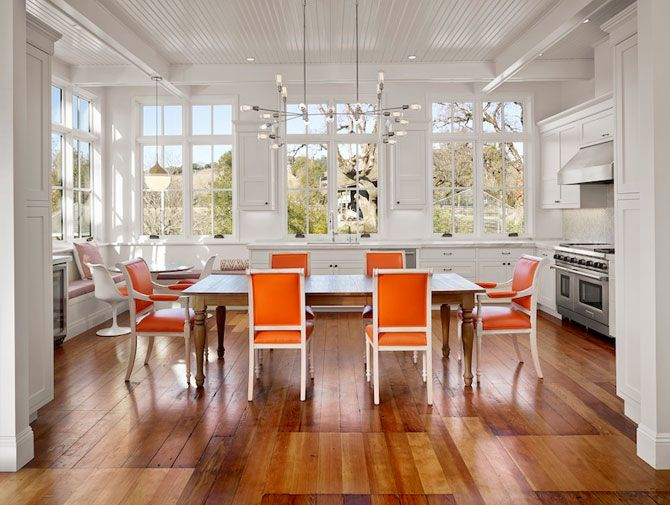 orange kitchen chairs shallow cabinets colorful kitchens that wow dig this design