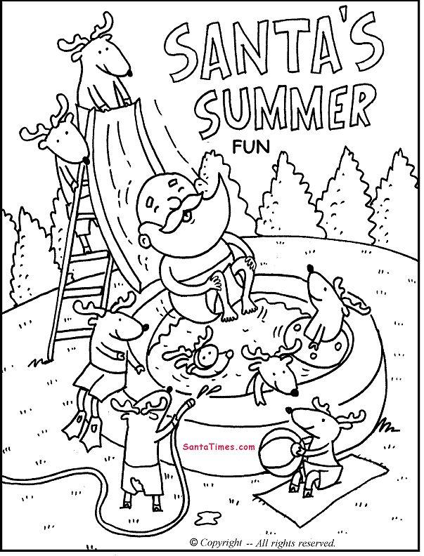 Santa's Summer Fun printable coloring page. More fun Santa