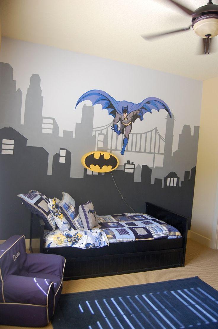 Love my sons Batman room Pottery Barn Kids bedding batman light and anywhere chair I had