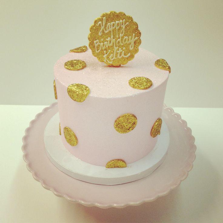 Pink And Gold Polkadots Birthday Cake