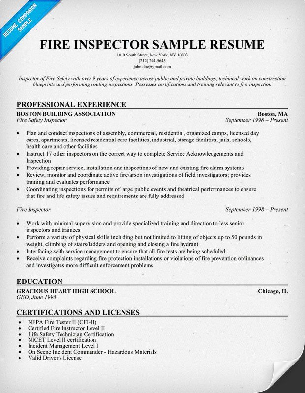 Fire Inspector Resume Sample Resume Samples Across All