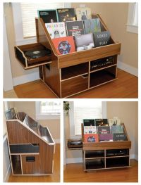 Handmade record player and vinyl collection display ...