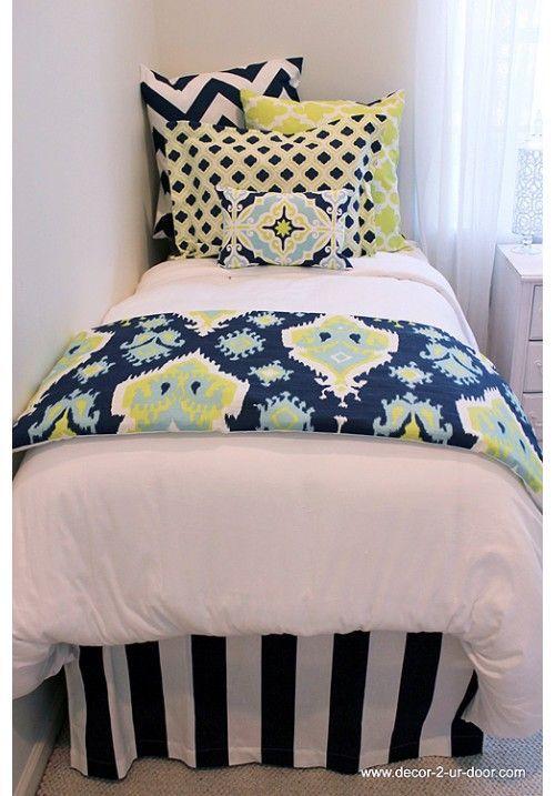 Lime  Navy Designer Teen  Dorm Bed in a Bag  Teen Girl Dorm Room Bedding HOT HOT HOT