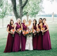Plum/Marsala bridesmaids dresses by Jenny Yoo | Floral ...