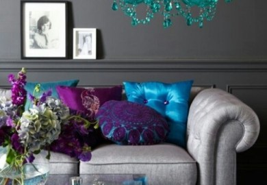 Turquoise And Dark Brown Living Room