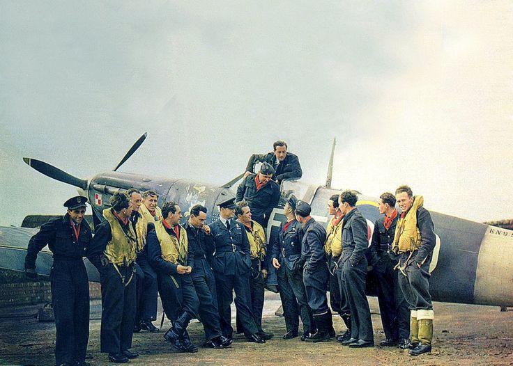 Pilots of raf polish squadron 303 pose with their squadron