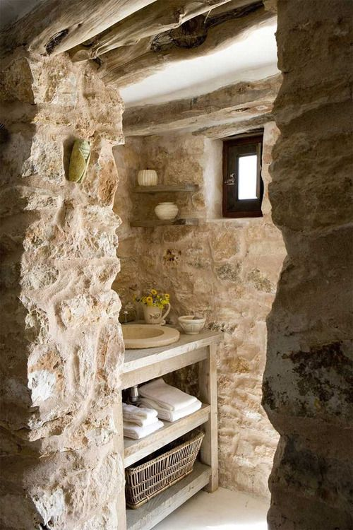 A Rustic Home on Formentera More Fab stone walls