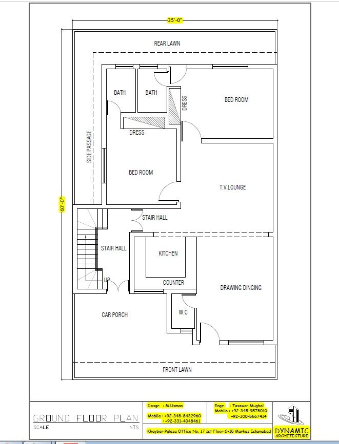 House Plan Drawing Size 35x60 Islamabad Design Project Pinterest House