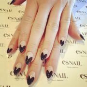black heart tip almond shape nails