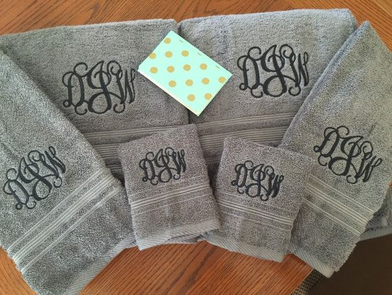monogrammed bath towel sets