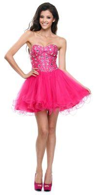 Poofy Short Tulle Skirt Fuchsia Dress Strapless Boned ...