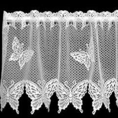 Kitchen Valance Patterns Banquet Heritage Lace White Butterflies Window | Filet ...