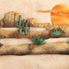 Southwest Kitchen Supplies Stores Desert Scene Sunset Cactus Metal Wall Art ...