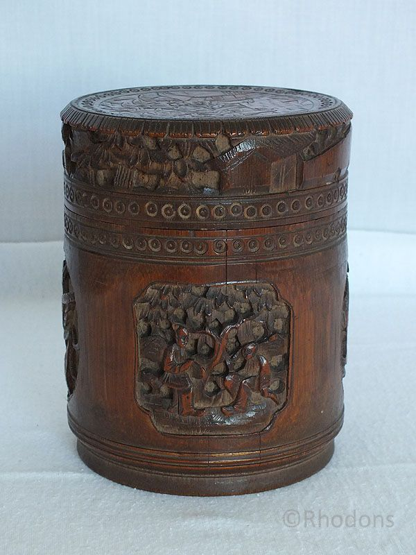 Antique Chinese Carved Bamboo Pot Brush Pot With Lid