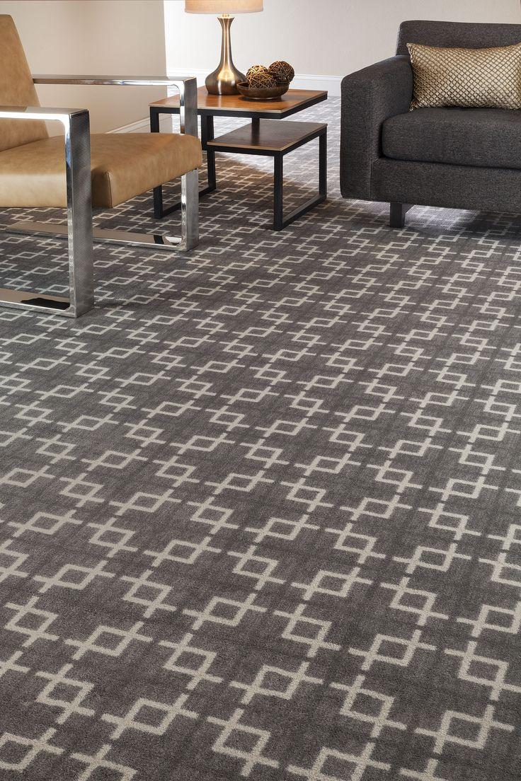 Geometric Patterned Carpet  Gray  Cream  Home Office