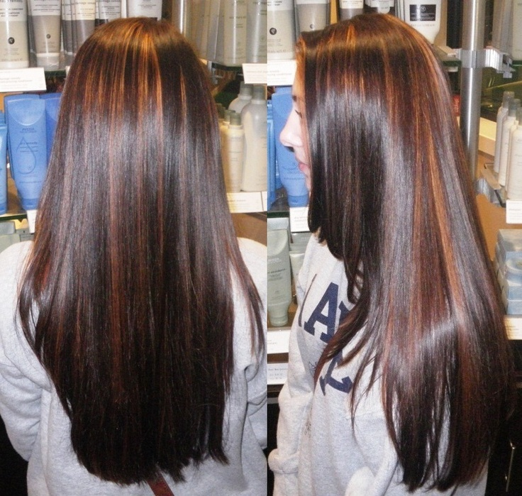 Warm Partial Highlights In A Deep Rich Brunette Color