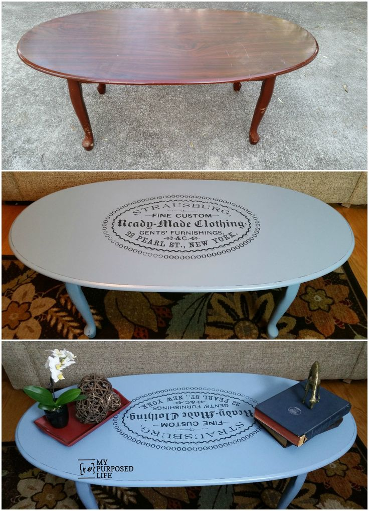 easy image transfer on an old coffee table using 1Gel from