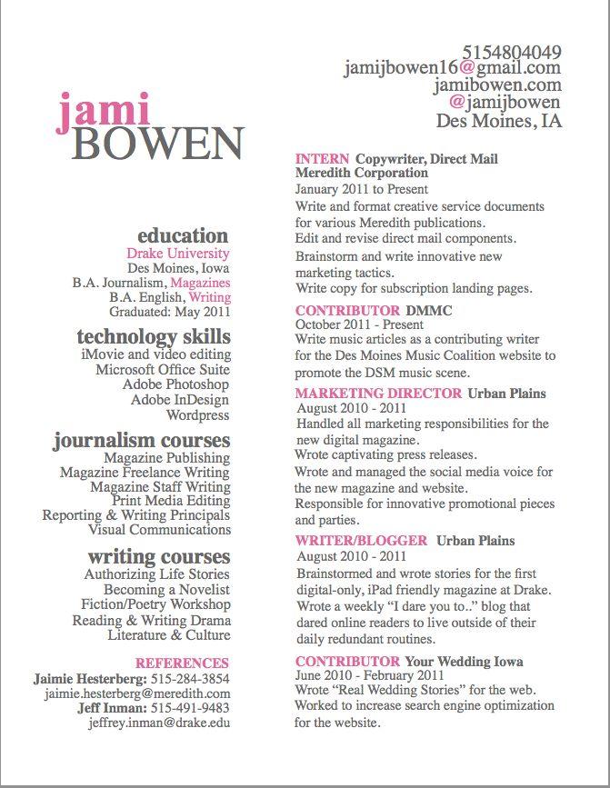 english resume example student