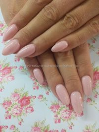 Pastel pink gel polish over almond acrylic nails   nails ...