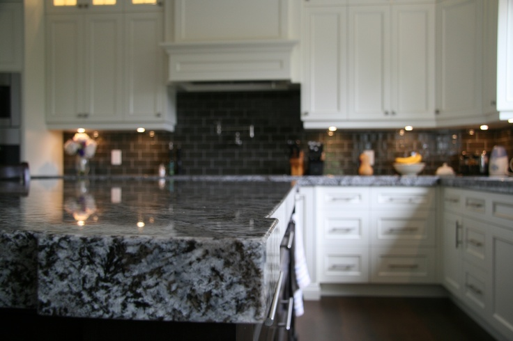 kitchen island butcher block fireclay sink bold butcher-block mitered edge in lennon granite www ...