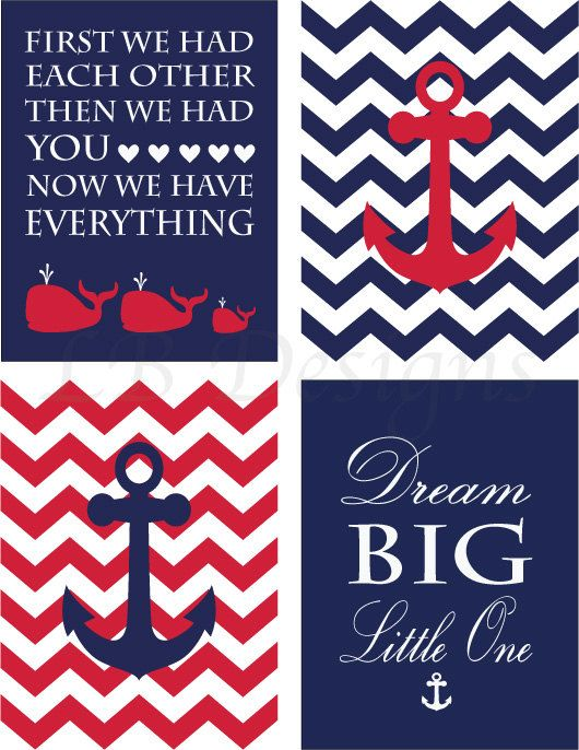 Anchor Nursery Decor Red and Navy Blue Nursery Whale Nursery Art Nautical Nursery Prints