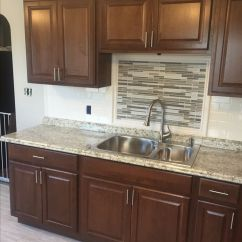 Hampton Bay Kitchen Cabinets Cabinet Door Bumper Pads Cognac With Subway Tile ...